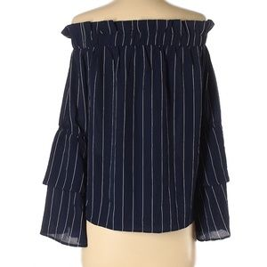 2/$30Navy Blue Striped Off The Shoulder Top XS